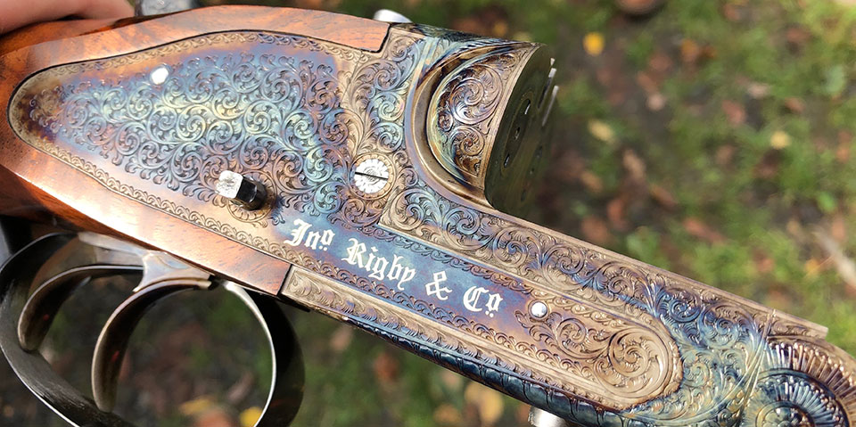 The beautiful case colour hardening looks entirely appropriate on this new Rigby .416 rifle.