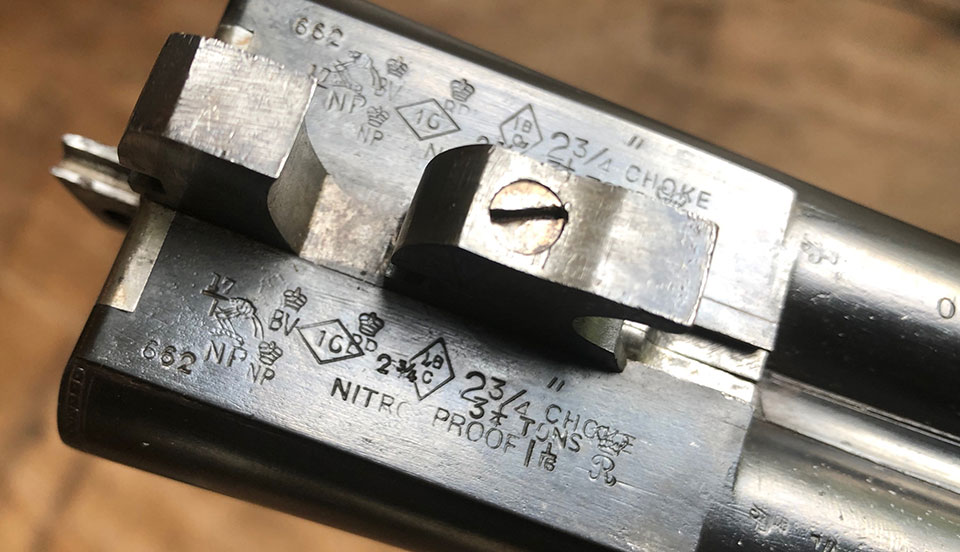 """Proof marks from the Lewis 16-bore, showing original 2 3/4"""" proof marks and 1 1/16 oz shot load."""