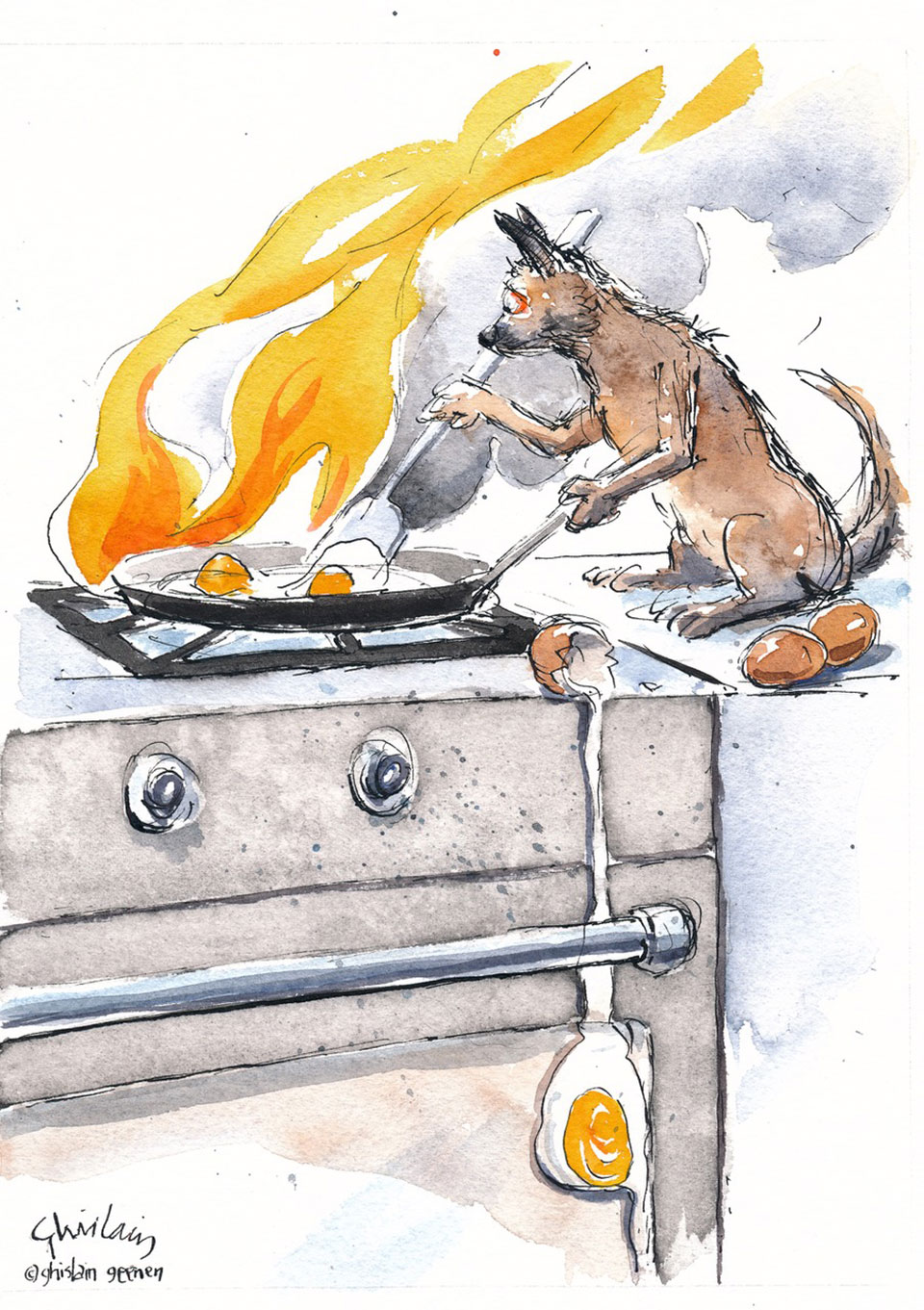 Ratty, the terrier, preparing breakfast.