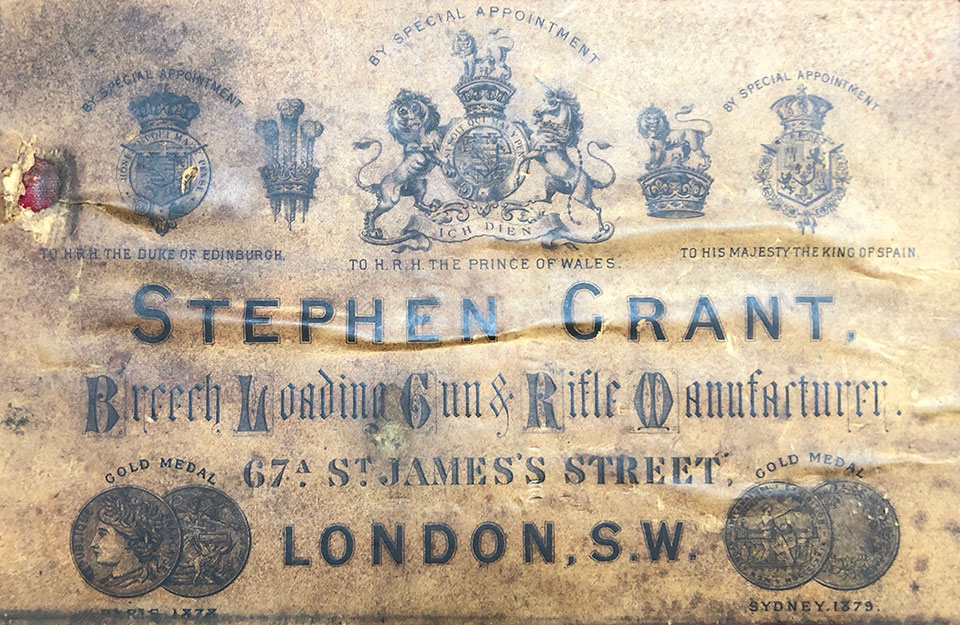 Grant's trade label from 67A St. James's Street, where he set-up in business in 1867.