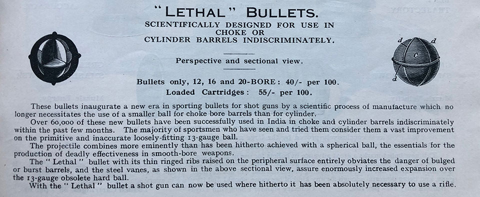 The 'lethal cartridge' referred to in the letter would have been like those in this 1932 catalogue.