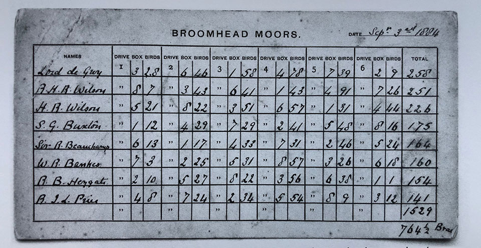 Ripon out-shot an entire generation. This is a game card from Broomhead Moor.