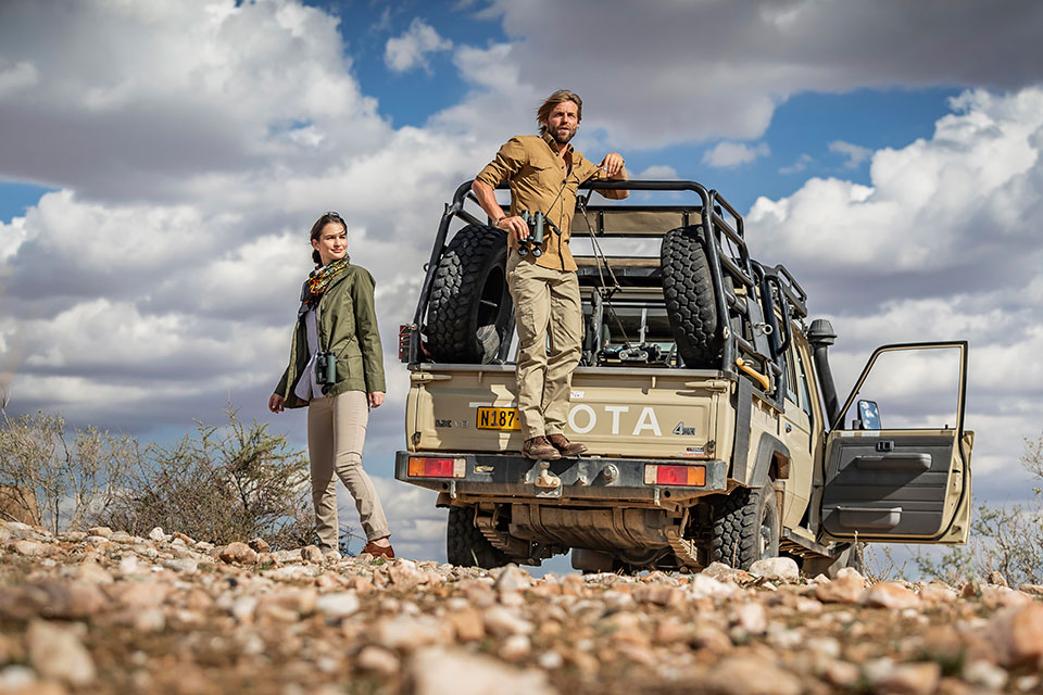 Safari inspired clothes for the style-consious hunter, doubles-up as rugged leisure wear.