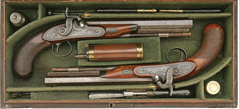 A pair of Reilly pistols circa 1828, S.N. 176. Only one earlier Riley is known to exist.