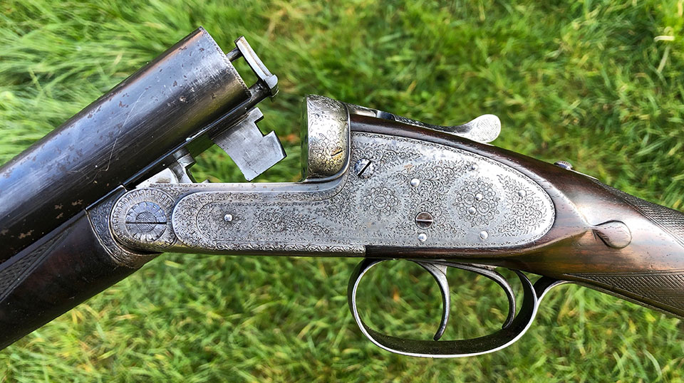 Before restoration began. A lovely gun, sadly neglected.