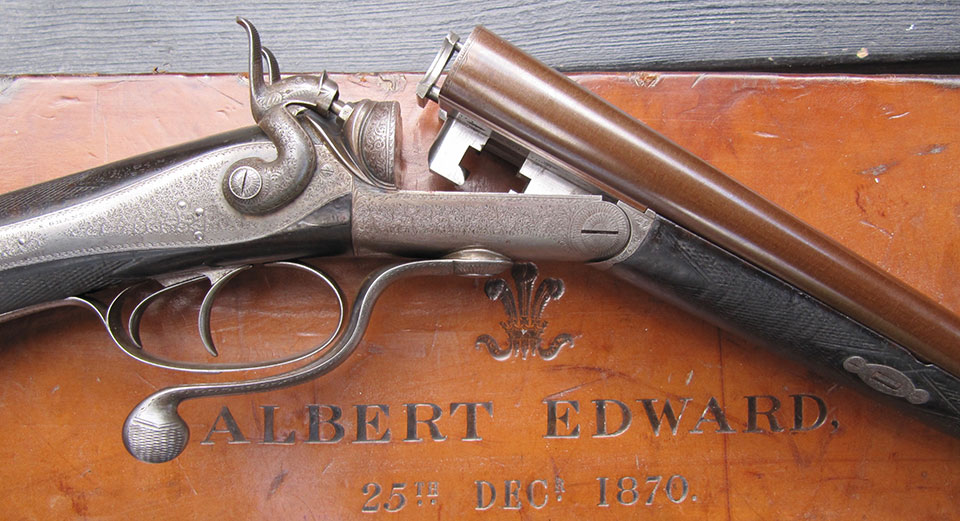 One of a pair of 16-bore guns built for 'Bertie' the Prince of Wales in 1870. The action is a Jones under-lever with back-locks and Hodges patent forend-cam, No.2996 of 1866.