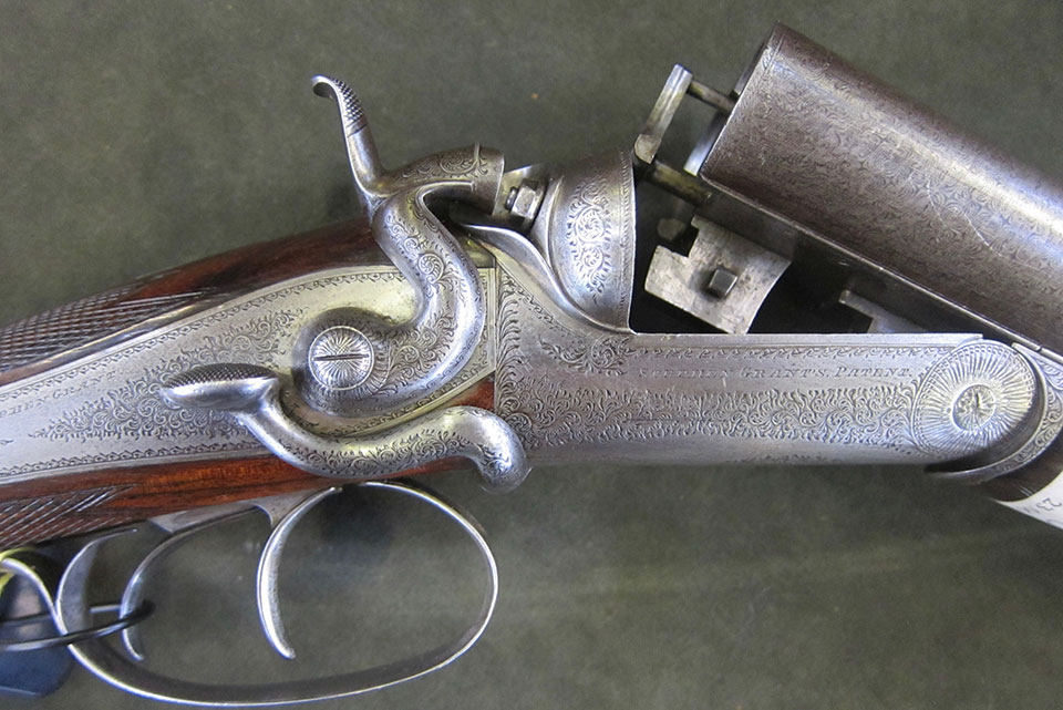 Classic 'Grant & Hodges' 1871 patent sidelever No.251, the best known of Grant's hammer gun styles.
