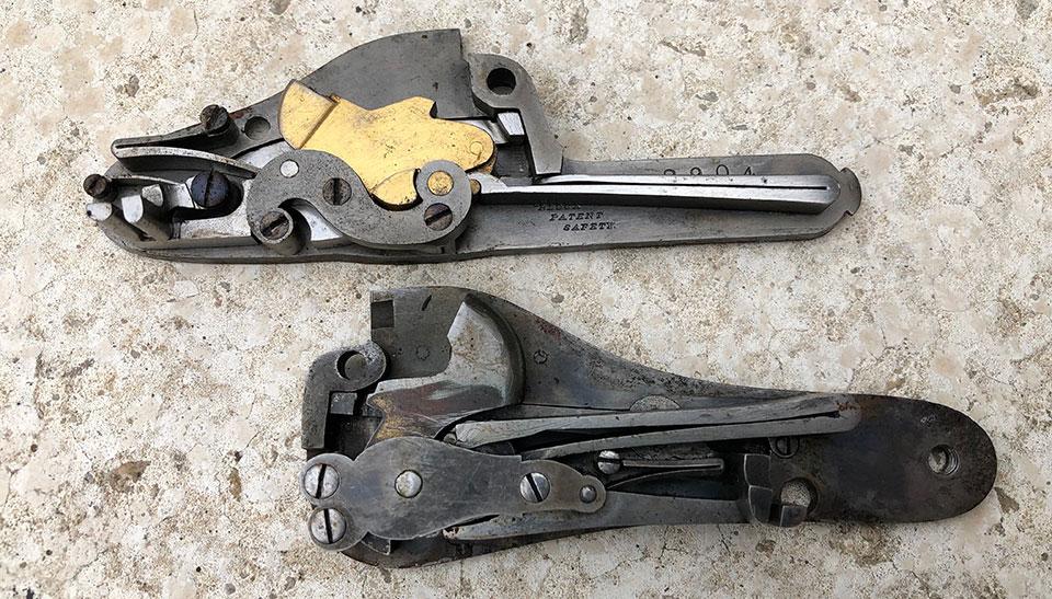 Top: Holland & Robertson patent bar-action. Bottom: Scott & Baker patent back action.