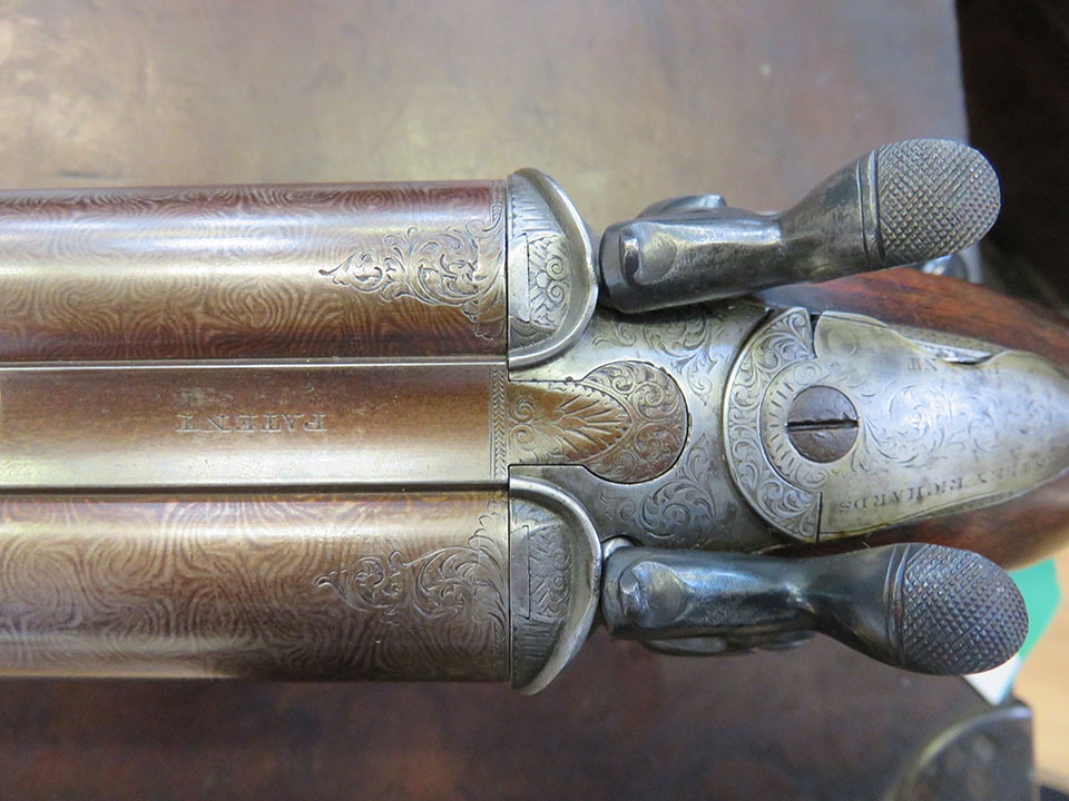 This Westley Richards hammer gun has been converted from pin-fire to centre-fire.