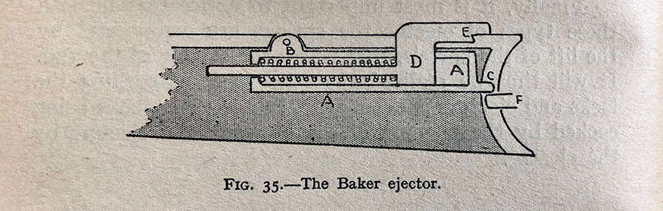 The Baker Ejector (from Burrard: The Modern Shotgun). Closing the gun pushes the extractors against the breech face, the legs of the extractors are so shaped as to push on the ejector kickers, first backwards and then down into the bent 'E' , locking the springs in the compressed position. To allow for the up and down movement of the ejector boxes, the whole pivots on pin 'B'. When fired, the fall of the hammer allows slide ' F' to move forward. When opening the gun the leg of slide 'F' protrudes into the forend iron, and, as the gun is opened, 'F' pushes upwards on 'C', which forces box 'A' to pivot at 'B' forcing 'E' over the bent to act on the appropriate extractor leg; thus ejecting the cartridge.