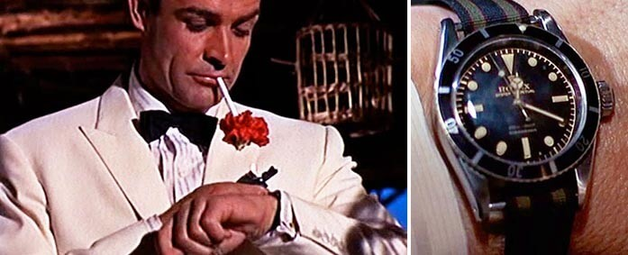The No-date Sub appeared on James Bond's wrist with a  NATO strap.