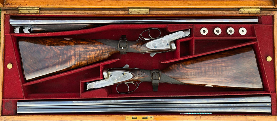 Guns certainly look better presented in an original case. In the UK, the heavy, original case is really of little practical use now. Guns must be secured in a locked safe and cases are for transport, not storage. In fact, many guns have been ruined by being stored in a case, where damp from the cloth lining rusts the steel on the gun where the two touch.