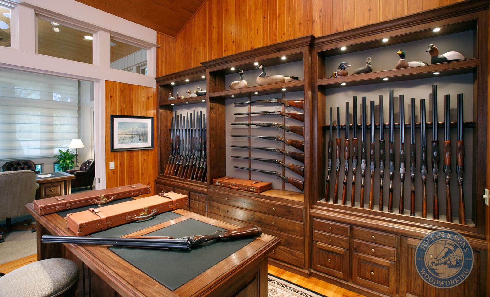 Julian & Sons, who build bespoke gun rooms for the likes of Gordy & Sons, will build you a beautiful room, like this. You can make a workable gun room yourself with a little time and effort.