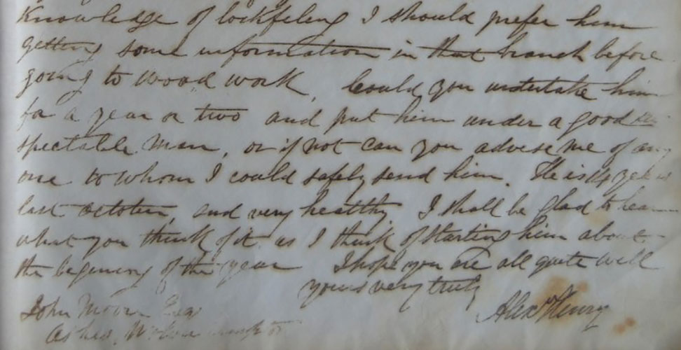 A section of Alex Henry's letter to Moore, with his signature.