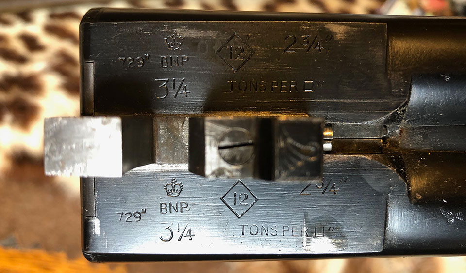 The 2 3/4 nitro proof marks on this boxlock mean it can be used with 'Standard Steel' loads in 70mm cases.